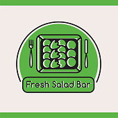 salad bar type with salad in box