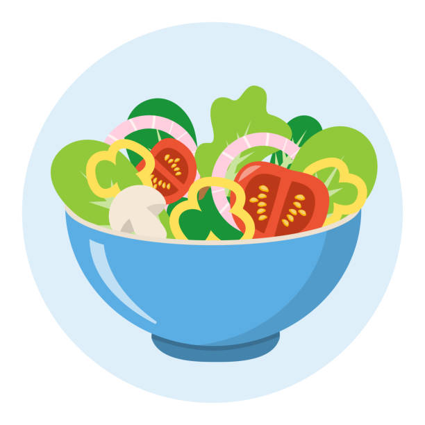 salad bowl healthy food vegetables flat design isolated on white background salad bowl icon salad bowl stock illustrations