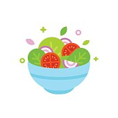 Salad bowl vector illustration. Simple flat cartoon design food icon.