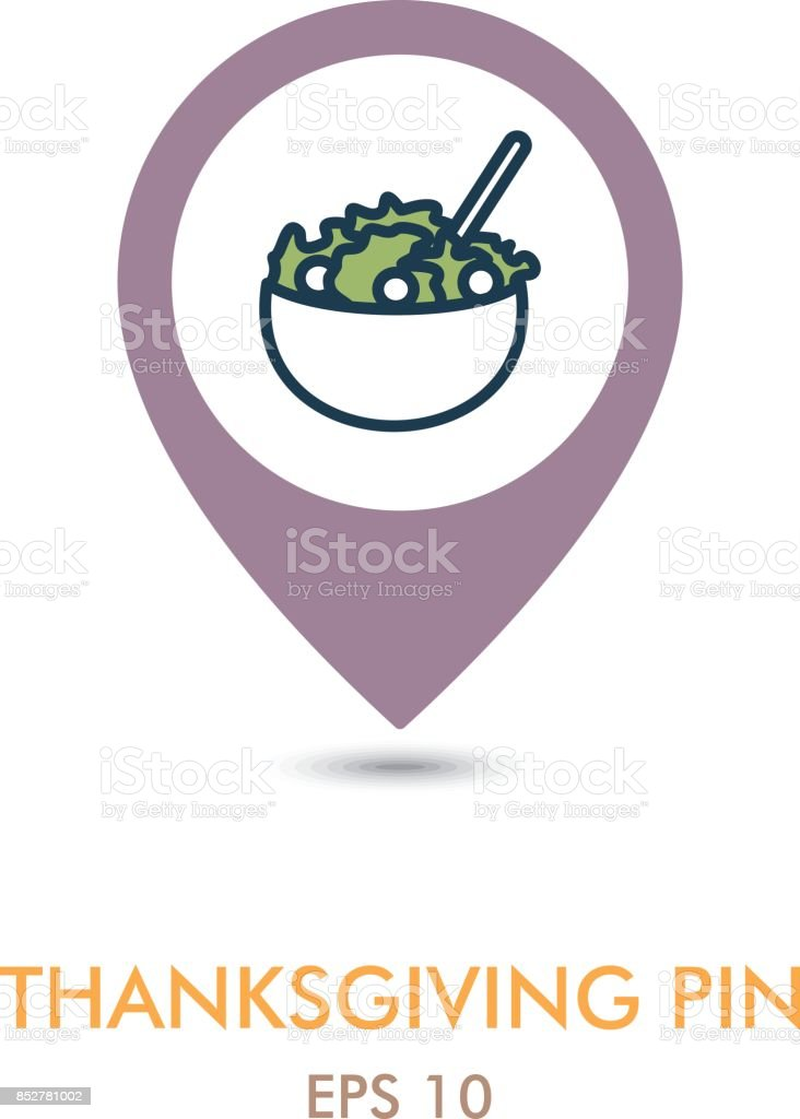 Salad bowl mapping pin icon. Harvest. Thanksgiving vector art illustration