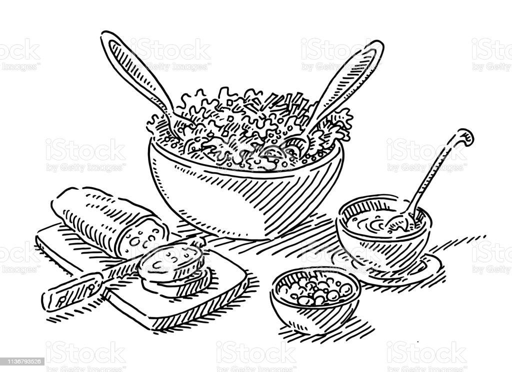 Salade Buffet Déjeuner Nourriture Dessin Vecteurs Libres De