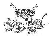 Hand-drawn vector drawing of a Salad Buffet Lunch Food. Black-and-White sketch on a transparent background (.eps-file). Included files are EPS (v10) and Hi-Res JPG.