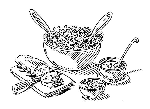 Salad Buffet Lunch Food Drawing Hand-drawn vector drawing of a Salad Buffet Lunch Food. Black-and-White sketch on a transparent background (.eps-file). Included files are EPS (v10) and Hi-Res JPG. salad bowl stock illustrations