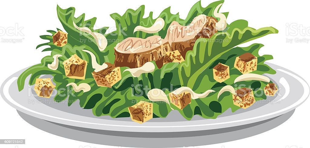 salad caesar with croutons vector art illustration