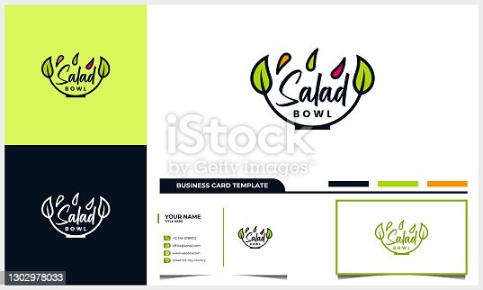 salad design with bowl and leaves or leaf concept and business card template