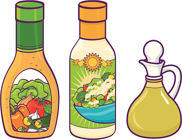 Salad dressing Bottles of Salad dressing. CS2, eps 8, & high res JPEG included. Please see my lightboxes for other food illustrations! salad dressing stock illustrations