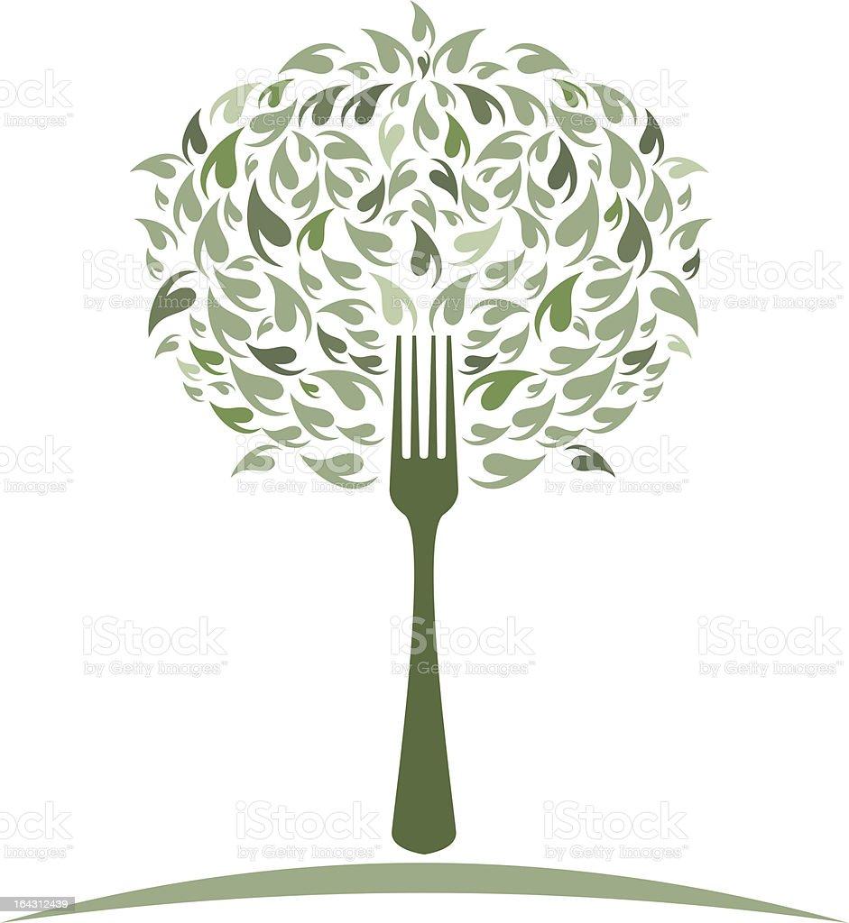 Salad Fork Tree royalty-free stock vector art