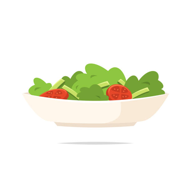 stockillustraties, clipart, cartoons en iconen met salade pictogram vector geïsoleerd - salade