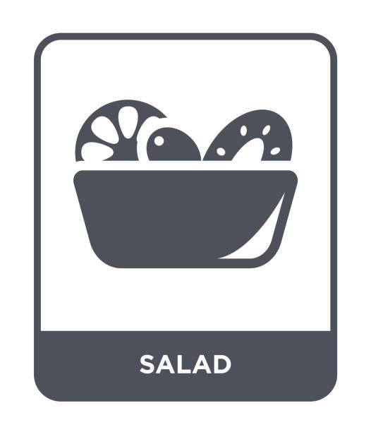 ilustrações, clipart, desenhos animados e ícones de vetor de ícone de salada sobre fundo branco, na moda salada cheia de ícones da coleção de frutos e produtos hortícolas - fruit salad