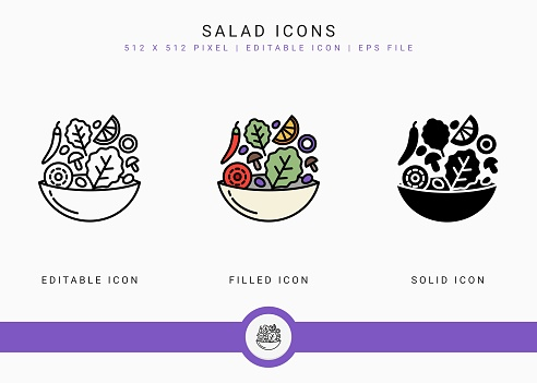 Salad icons set vector illustration with solid icon line style. Healthy diet food concept. Editable stroke icon on isolated white background for web design, user interface, and mobile application