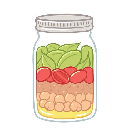 Salad in a jar illustration