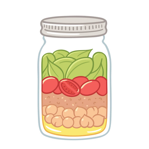 Salad in a jar illustration Salad in mason jar, healthy vegan lunch idea. Cute hand drawn meal prep with vegetables, beans and dressing. jar stock illustrations