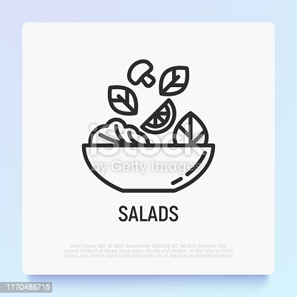 Salad in bowl thin line icon. Healthy food. Modern vector illustration for salad bar.