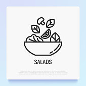 istock Salad in bowl thin line icon. Healthy food. Modern vector illustration for salad bar. 1170486715