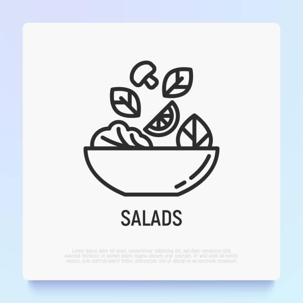 ilustrações, clipart, desenhos animados e ícones de salada no ícone fino da linha da bacia. comida saudável. ilustração moderna do vetor para a barra de salada. - healthy food