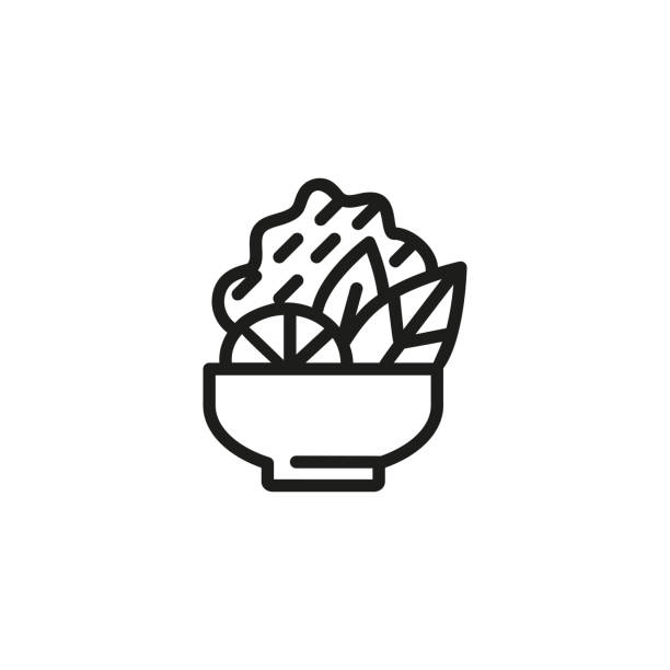 salat-line-symbol - schüssel stock-grafiken, -clipart, -cartoons und -symbole