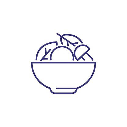 Salad of lettuce and mushroom line icon