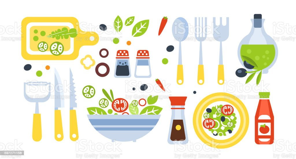 Salad Preparation Set Of Utensils Illustration royalty-free salad preparation set of utensils illustration stock vector art & more images of backgrounds