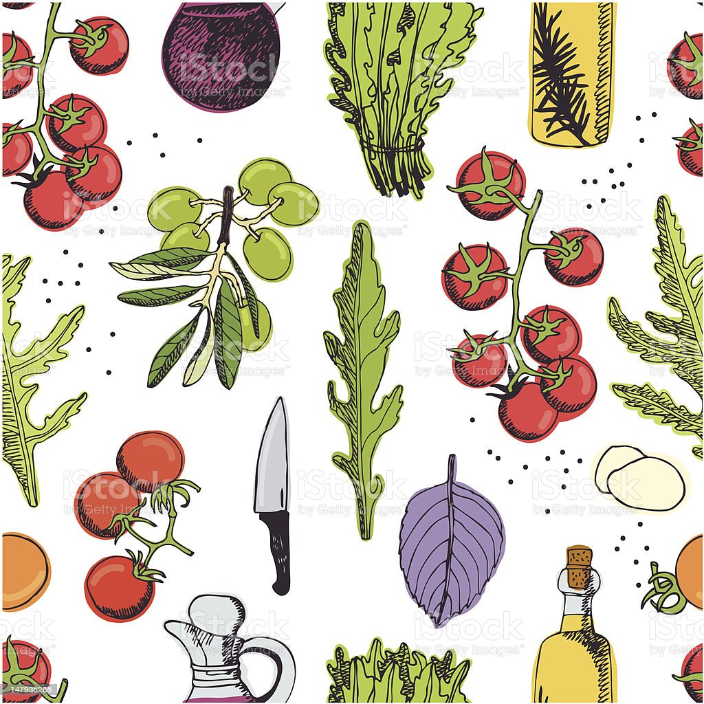 Salad seamless background vector art illustration