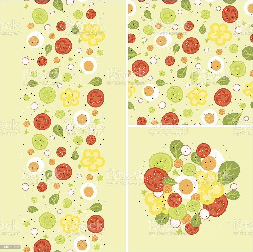 Salad Seamless Patterns Set royalty-free stock vector art