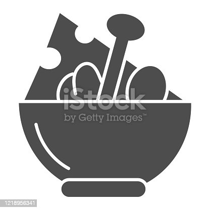 istock Salad solid icon. Salad plate illustration isolated on white. Bowl full with meal glyph style design, designed for web and app. Eps 10. 1218956341