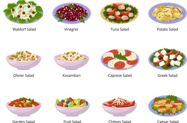 salat-vektor gesunde ernährung mit frischem gemüse tomate oder kartoffel in schüssel salat oder salat-teller für mittag- oder abendessen abbildung satz von organischen mahlzeit isoliert auf weißem hintergrund - frühstücksservice stock-grafiken, -clipart, -cartoons und -symbole