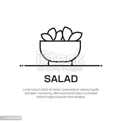 Salad Vector Line Icon - Simple Thin Line Icon, Premium Quality Design Element