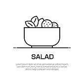 Salad Vector Line Icon - Simple Thin Line Icon, Premium Quality Design Element