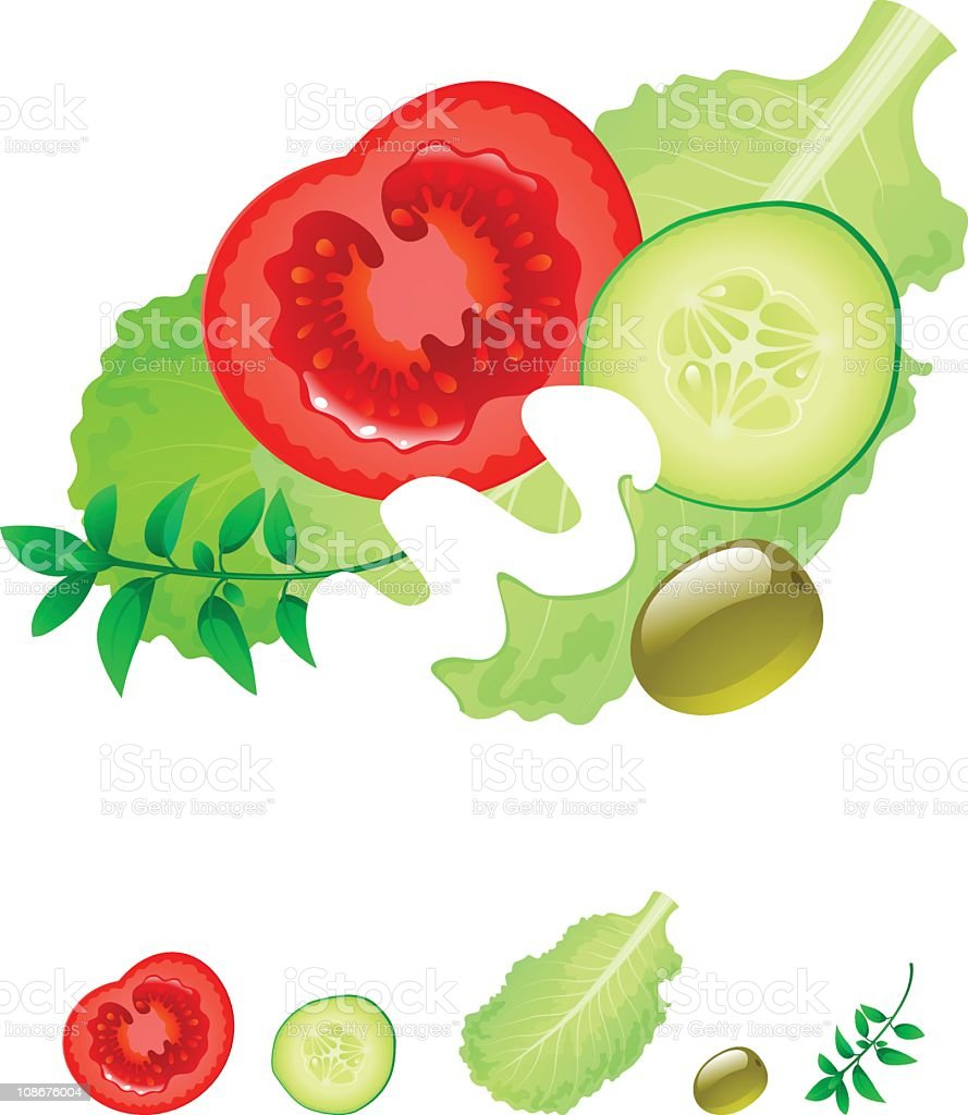 Salad with cucumber and tomatoes royalty-free stock vector art