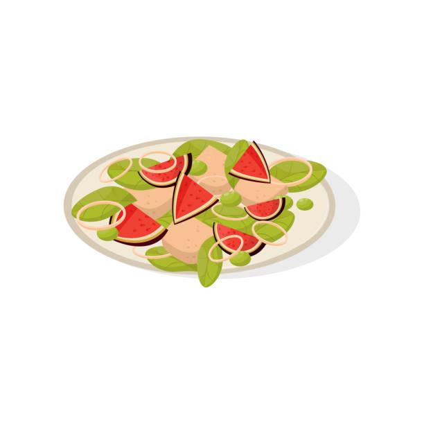 salat mit feigen-früchte auf einem teller vektor illustration auf weißem hintergrund - feigensalat stock-grafiken, -clipart, -cartoons und -symbole