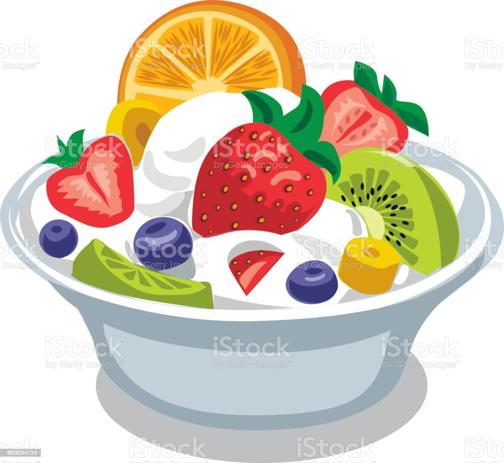 royalty free yogurt salad clip art vector images illustrations rh istockphoto com Fruit Cup Clip Art Cartoon Fruit Salad