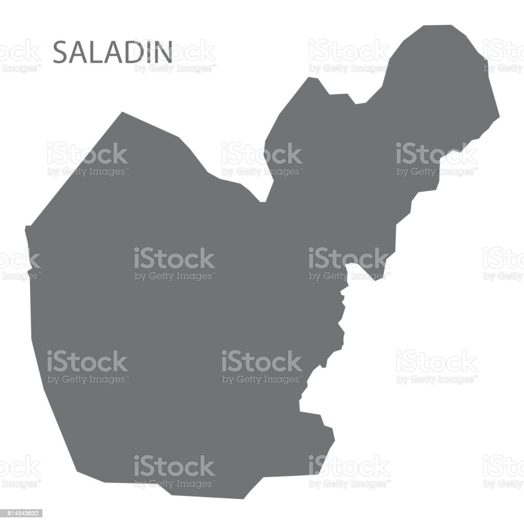 Saladin Iraq Map Grey Illustration Silhouette Stock Vector Art