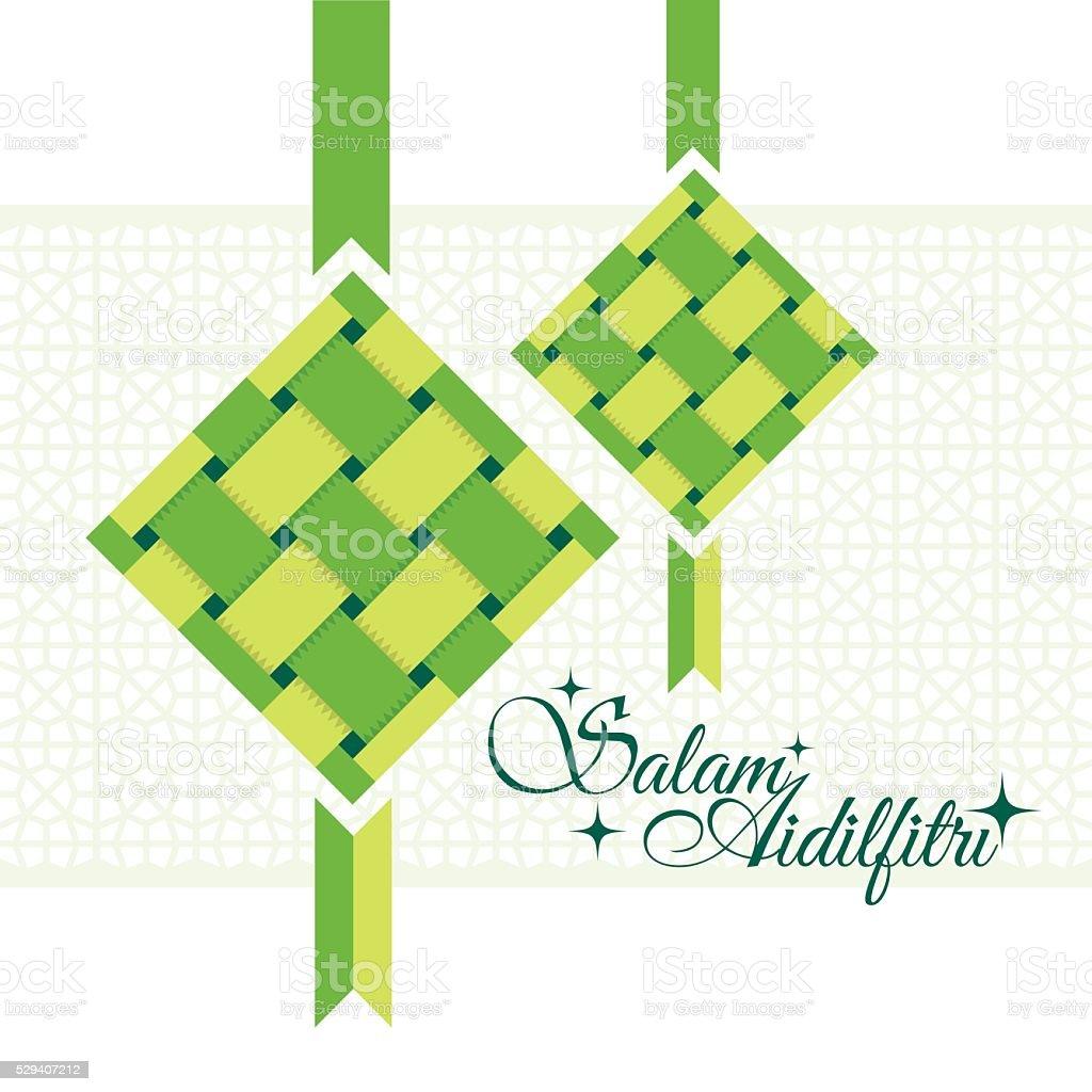 Salam Aidilfitri greeting card. vector art illustration