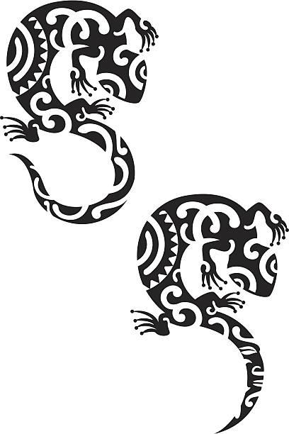 salamander - maori tattoos stock-grafiken, -clipart, -cartoons und -symbole