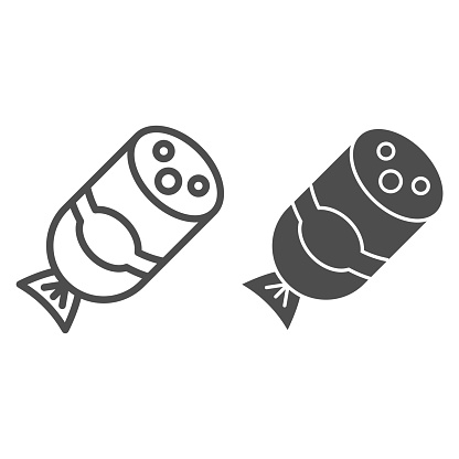 Salami sausage line and solid icon, Street food concept, Sausage with slices of bacon sign on white background, half meat sausage icon in outline style for mobile and web design. Vector graphics.