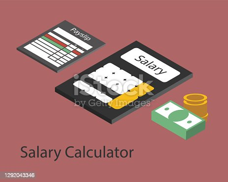 istock Salary Calculator to calculate salary for employees vector 1292043346