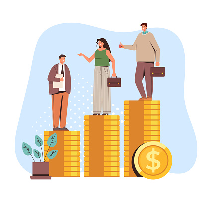 Salary income money injustice difference isolated concept. Vector flat cartoon graphic design illustration