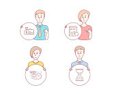 Salary, Quick tips and Internet report icons. Time hourglass sign. Vector