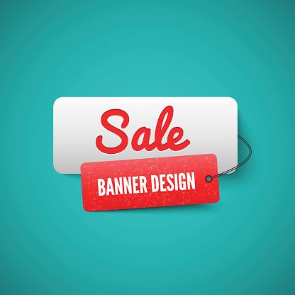 Sale 3D banner tag. Sales Labels concept.
