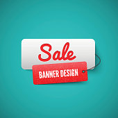 Sale 3D banner tag. Sales Labels concept.