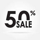 Sale 50% and discount price sign or icon. Sales design template. Shopping and low price symbol. Vector illustration.