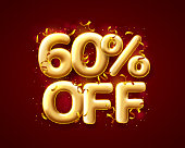 Sale 60 off ballon number on the red background. Vector illustration