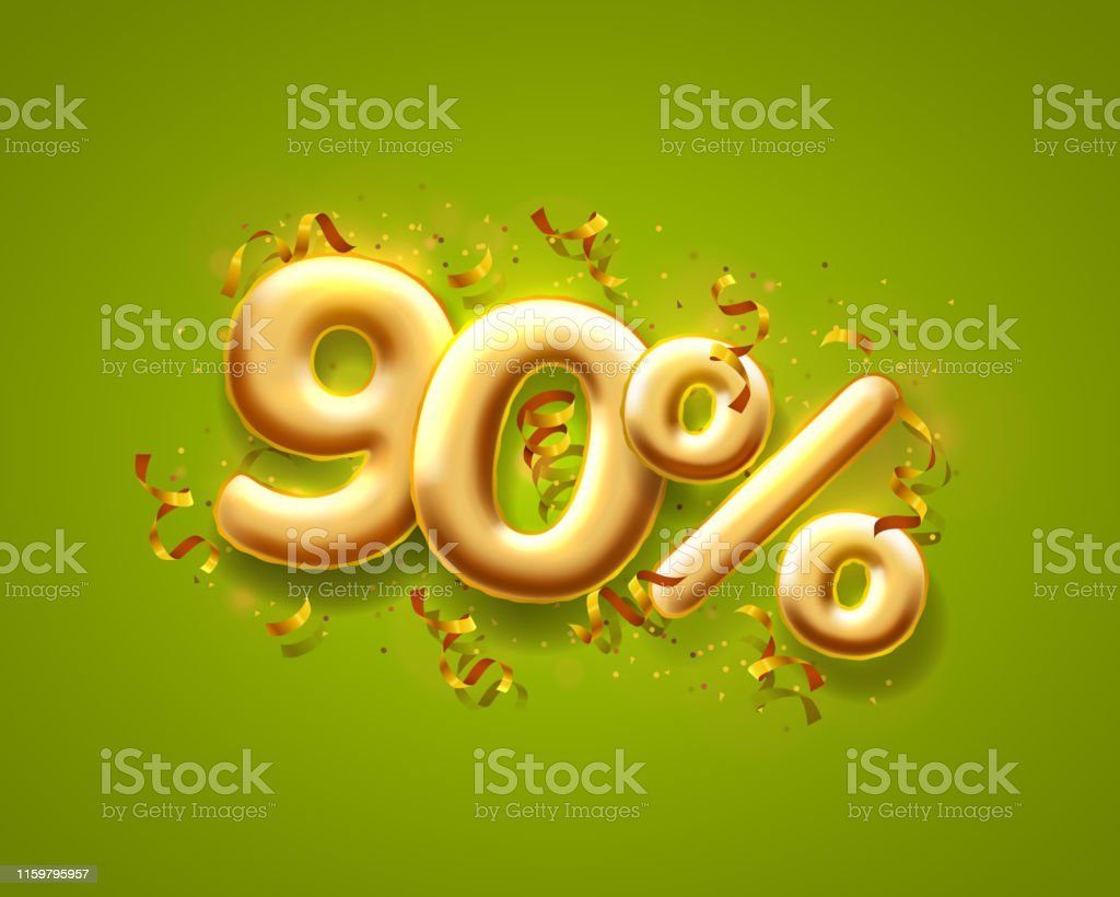 Sale 90 off ballon number on the green background. Vector illustration