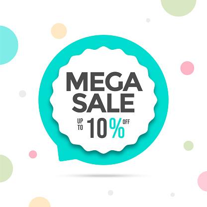 Sale abstract banner template design. Speech bubble shape sale banner.  Vector illustration. stock illustration