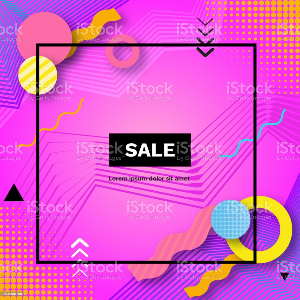 Sale abstract color poster in trendy style with geometric shapes, triangle, lines, frame, pink background, shopping concept, template for banner, cover, flyer, vector illustration vector art illustration