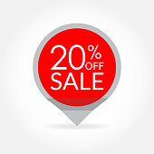 Sale and discount pointer or sticker. 20 percent price off tag icon. Vector illustration.