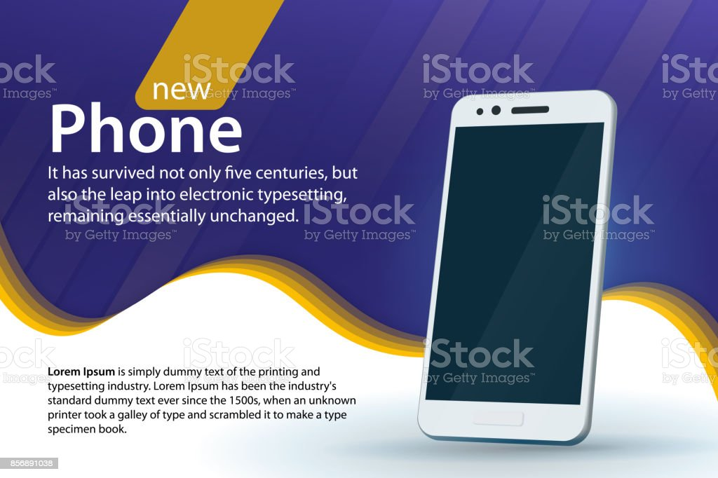 Sale and discounts banner design. White modern smartphone on a blue background. Modern background with a gradient and curved colored lines. vector art illustration
