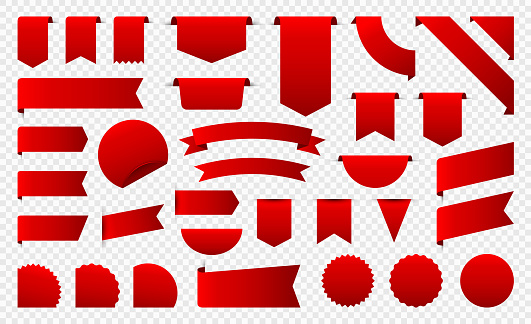 Sale and New Label collection set. Sale tags 30, 50, 70. Discount red ribbons, banners and icons. Shopping Tags. Sale icons. Red isolated on white background, vector illustration.