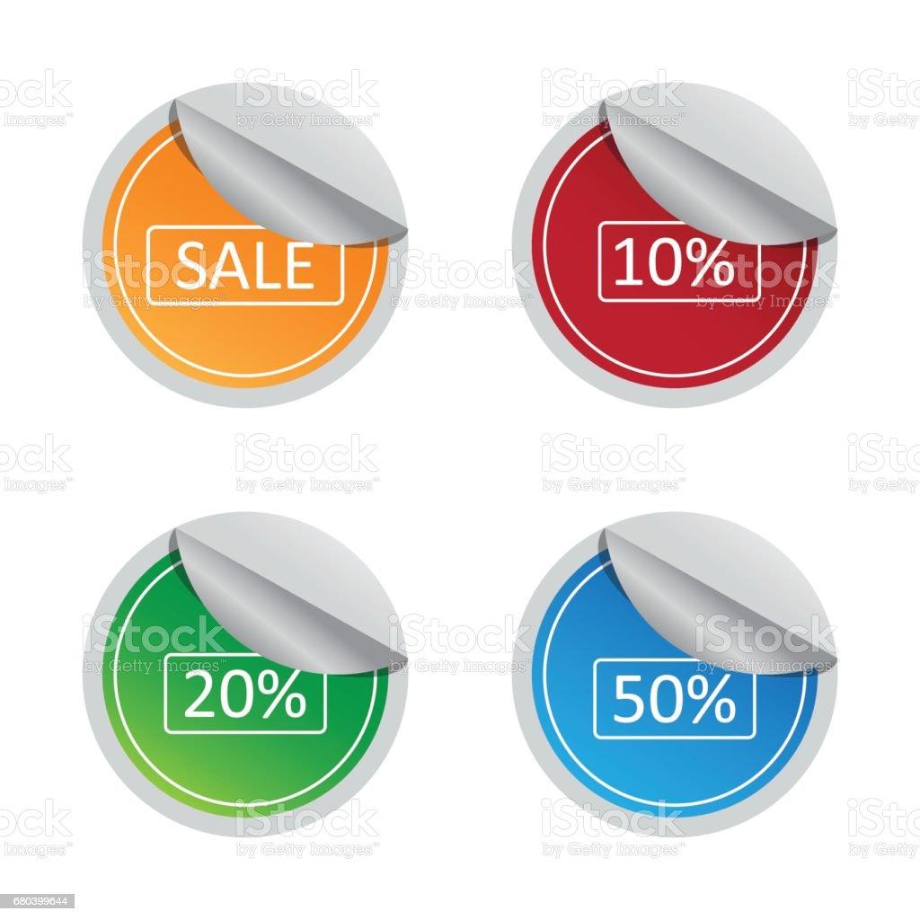 sale and percentage sticker label set vector art illustration