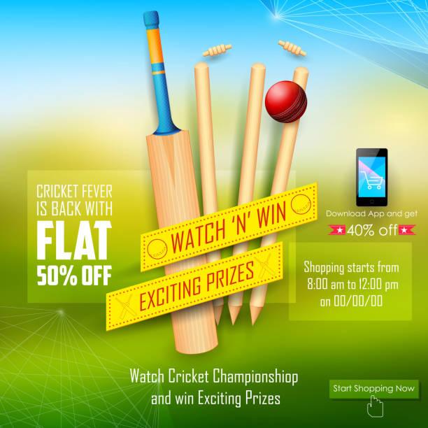 ilustraciones, imágenes clip art, dibujos animados e iconos de stock de promoción de venta y banners para la temporada de críquet - críquet